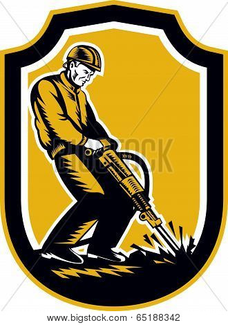 Construction Worker Jackhammer Drill Shield Retro