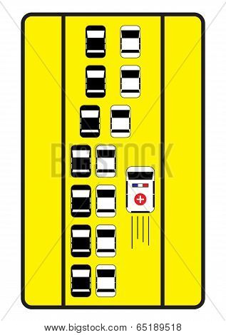 Traffic Sign Advise Cars To Give Right Way To Ambulance.