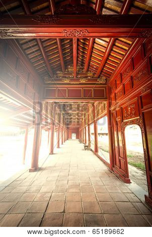 Red Wooden Hall Of Hue Citadel In Vietnam, Asia.