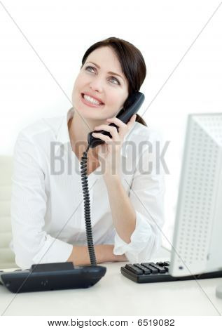Smiling Busineswoman On Phone