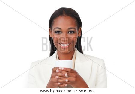 Afro-american Businesswoman Drinking A Coffee