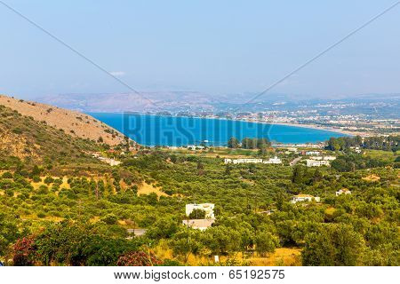 Small Cretan Village Kavros In Crete  Island, Greece. Travel Background