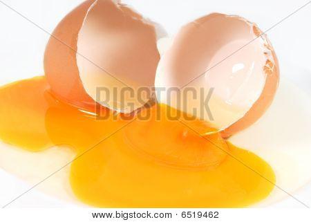 Closeup Photo Of Broken Egg With Yolk