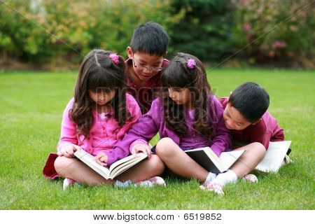 Diverse Boys And Girls Reading