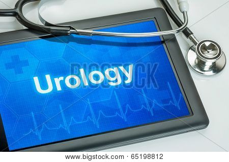 Tablet with the medical specialty Urology on the display