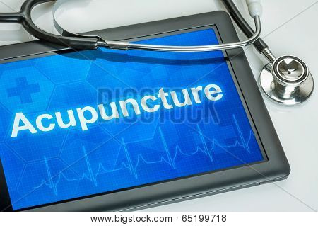 Tablet with the text Acupuncture on the display