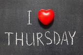 image of thursday  - I love Thursday phrase handwritten on the school blackboard - JPG