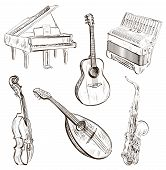 picture of trombone  - Vector illustration of Musical instruments in sketch - JPG