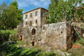 foto of stomp  - Vintage stone tank for grape stomping and derelict house ruins - JPG