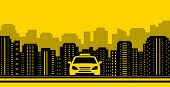stock photo of suburban city  - yellow urban taxi background with city landscaping - JPG