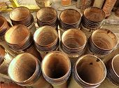 stock photo of sewage  - Sewage and drainage pipes from ceramic material - JPG