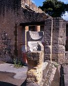 stock photo of sundial  - Stone sundial in the garden of a Roman Villa Herculaneum Nr - JPG