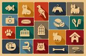 image of dog tracks  - Icons on a veterinary science and care theme house pupils - JPG