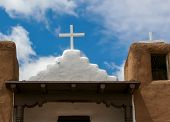 stock photo of pueblo  - San Geronimo Chapel in Taos Pueblo USA - JPG