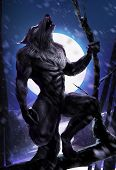 stock photo of wolf moon  - Werewolf sitting on a tree in a forest - JPG