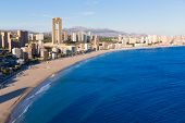 picture of costa blanca  - Benidorm alicante skyline high angle view of Poniente beach playa at spain - JPG