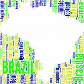pic of gaucho  - Brazil map vector tag cloud with national flag colors blue - JPG