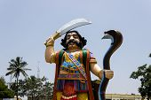 pic of durga  - A tall statue of Hindu mythological demon Mahishasura who was killed by Goddess Durga also called Chamudeshwari - JPG