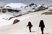 stock photo of taurus  - Two hikers on snowy plateau - JPG