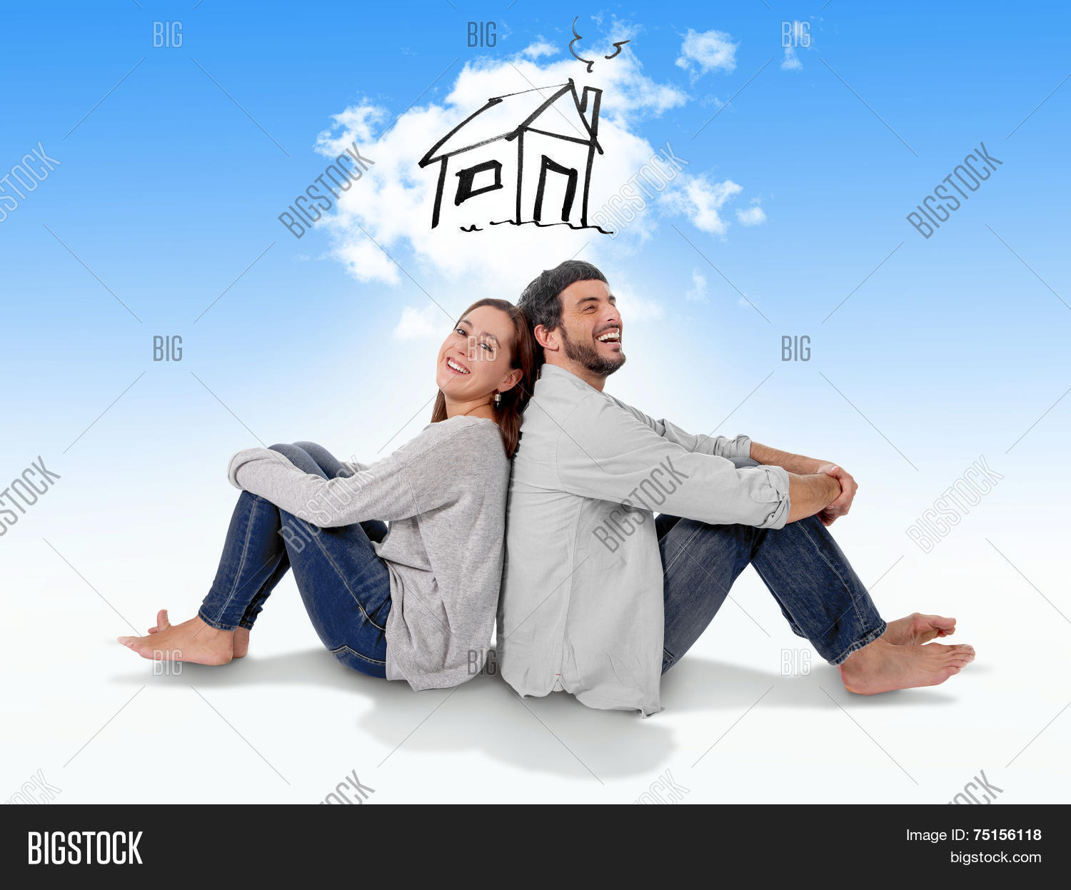 Young couple dreaming imaging their image photo bigstock - Young couple modern homes ...