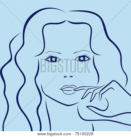 Female Laconic Characters Head Outline In Blue