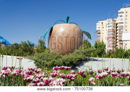 Statue Apple On The Street In Almaty