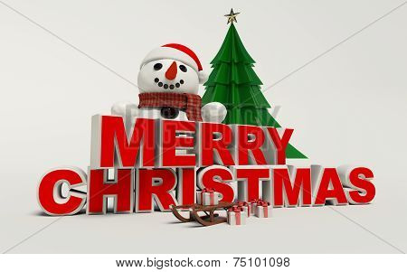 Merry Christmas 3D Text, Snowman,sled,and Gift High Resolution