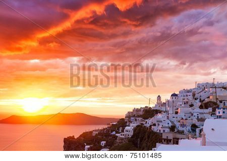 Sunset At Cycladic Village Imerovigli