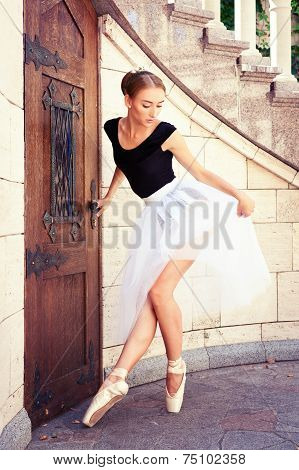 Beautiful Young Ballerina Rehearsing