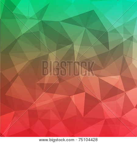 Polygon Geometric Abstract Background  Red And Green