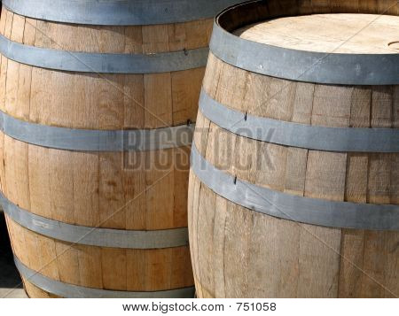 Two Wooden Wine Casks