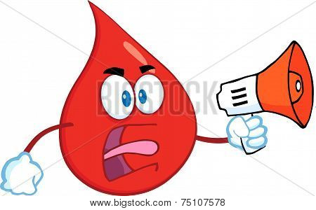 Angry Red Blood Drop Cartoon Mascot Character Screaming Into Megaphone