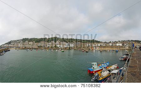Panorama Of The Harbor At Mousehole, Cornwall, England