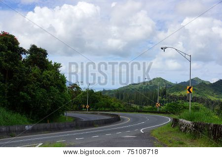 Long Curve On Historic Pali Highway