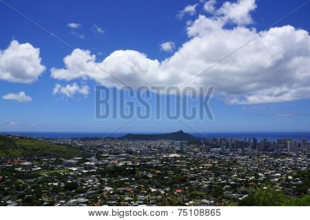 Diamondhead And The City Of Honolulu On Oahu On A Nice Day
