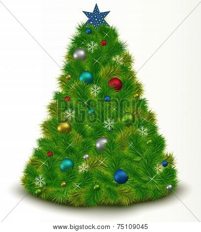 Beautiful Christmas Tree With Toys, Snowflakes, Twinkling Stars, Isolated On White