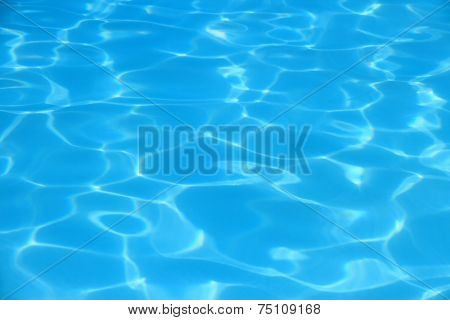 Blue Waves In Swimming Pool As Background
