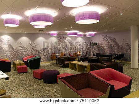 Comfortable interior of lobby in modern hotel