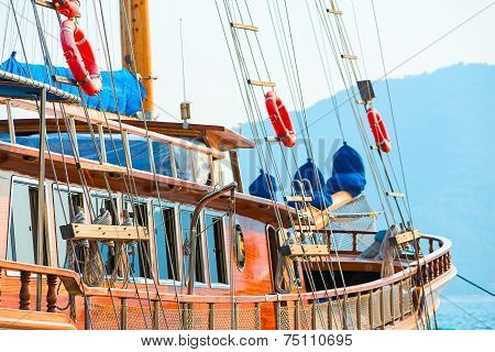 Aboard A Wooden Sailing Yacht At Sea