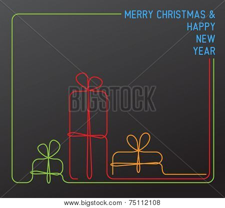 Vector christmas card - christmas presents, gift boxes - simple dark continuous line drawing