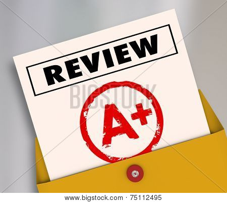 Review word and A Plus grade on a report card to illustrate a great rating, score, evaluation or assessment for a student, employee or worker
