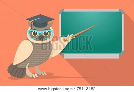 Wise Owl in Glasses at the School Board