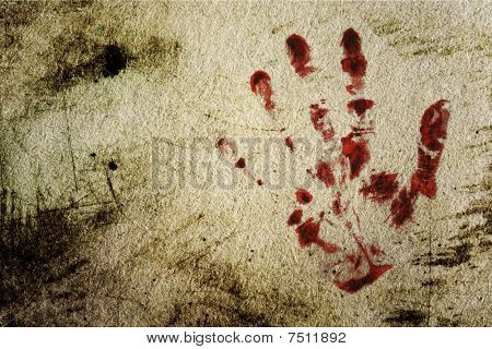 Background With A Print Of A Bloody Hand