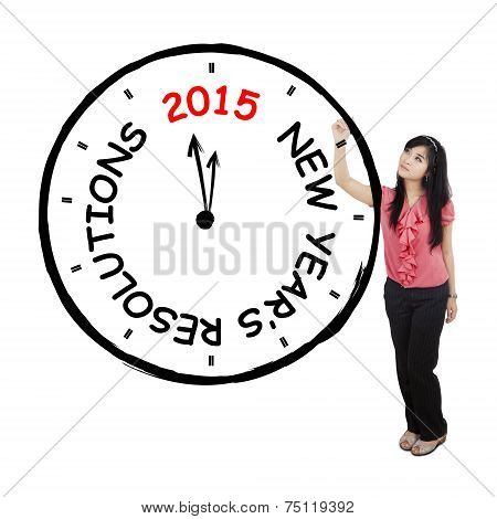 Female Worker Makes Resolution Clock