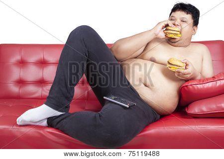 Greedy Fat Man Eating Hamburger 1