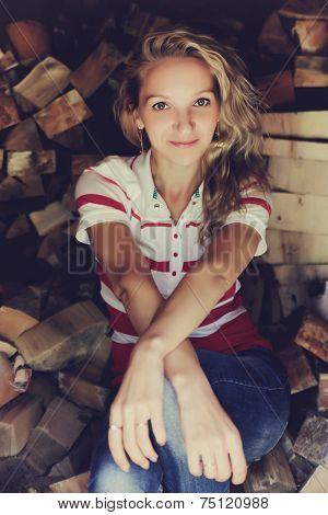 girl, blonde in village