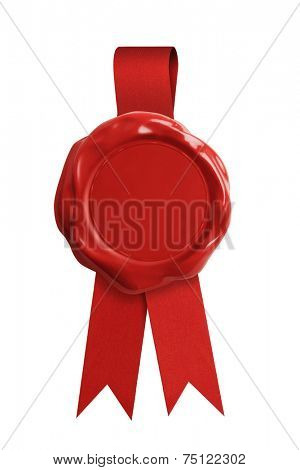 Red wax seal stamp with ribbon isolated on white