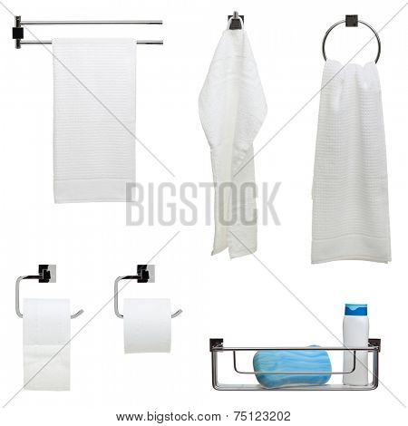 Set of six bathroom objects - towel bar, hook and ring, toilet paper dispensers, shower rack