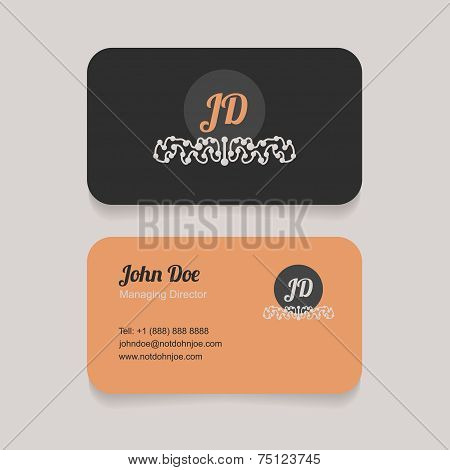 Double sided simple business card