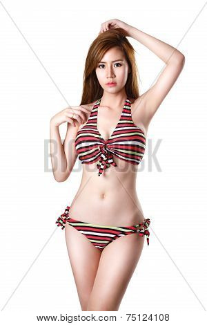 Pretty Swimsuit Fashion Young Asian Woman Posing